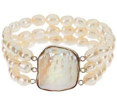 Honora Cultured Pearl Baroque Average White Sterling Bracelet
