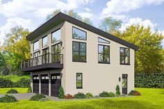 Modern carriage house plan with garage and boat storage offers open living spaces, 1 bedroom and baths; Modern Garage, Modern House Plans, Modern House Design, House Floor Plans, Garage Apartment Floor Plans, Garage Apartments, Garage With Living Quarters, Plan Garage, Garage Ideas