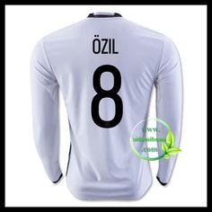 Billige Fotballdrakter Tyskland Langermet OZIL 8 Hjemmedraktsett UEFA Euro 2016