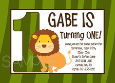 Lion Safari Birthday Invitation, Printable or Printed by OneWhimsyChick on Etsy