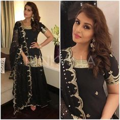 Huma Quershi wearing a black and gold beaded kurta that she paired with matching sharara pants and scalloped dupatta by Sukriti and Aakriti