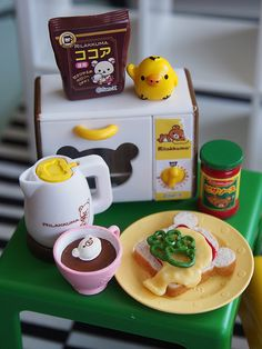 Miniature toast, coffee, electric kettle and oven, Rilakumma style!  By Re-ment