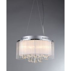 Warehouse of Tiffany Ares RL7904-6 Pendant Light - Delicate layers of style make the Warehouse of Tiffany RL7904-6 Ares Chandelier a stunning way to illuminate. Slim glass rods surround a sheer white d...