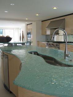 Silver sparkle sea green glass countertop