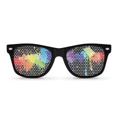 These quality soft-touch rubberized matte frames with clear lenses are great for indoor use while still providing 100% UVA and UVB protection for sunny outdoor events. Pinhole sunglasses with perforat