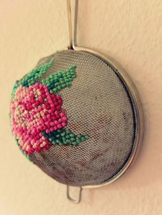 Cross stitch on strainer