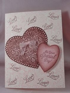 Uniquely Me: Valentine /wedding card pink and brown