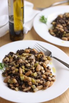 Puy Lentils with Cannellini Beans and Garlicky Leeks