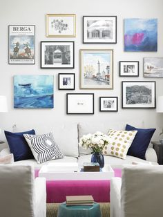 Decor Happy - living rooms - Para Paints - Fan Light Gray - gallery wall, living room gallery wall, eclectic gallery wall, gallery wall over...