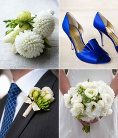 white bouquet and boutonniere