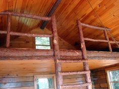 Small Rustic Cabin Interior | The rustic interior is in beautiful shape. The loft was a fun lunch ...