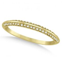 Knife Edged Micro Pave Diamond Wedding Band 14k Yellow Gold (0.27ct) - Allurez.com