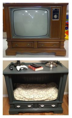 Old TV to dog bed/ end table.