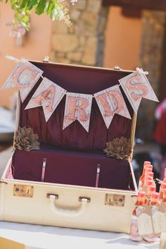 vintage suitcase for your wedding cards  http://www.weddingchicks.com/2013/11/12/sonoma-backyard-wedding/