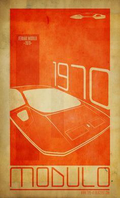 retro-inspired automotive poster, Ferrari Modulo 1970, via type-01.blogspot.com