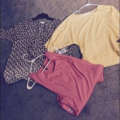 Three really cute tops two net Three xl tops yellow and blk one brand new w tags , other one super cute worn once pictures do not do justice Tops