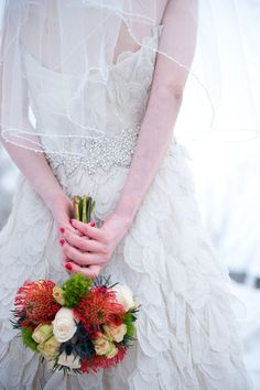 winter wedding dress with colorful flowers
