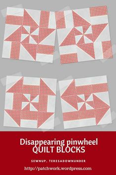 Video tutorial: Disappearing pinwheel quilt block variations (Sewn up, TeresaDownUnder) Pinwheel Quilt Pattern, Quilt Block Patterns, Pattern Blocks, Pinwheel Tutorial, Quilting Tutorials, Quilting Projects, Quilting Designs, Nine Patch, Vintage Star