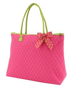 e58c41e99416 Fuchsia and Lime Large Quilted Tote Bag Pink Quilts