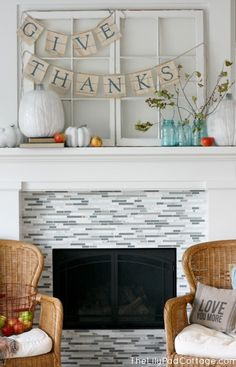 If you have a fireplace and a mantel – real or fake ones – they should be used to decorate for Thanksgiving. Here is a bunch of cool ideas to do that. Fireplace Remodel, Fireplace Mantle, Cottage Fireplace, Fireplace Stone, Fireplace Cover, Shiplap Fireplace, Farmhouse Fireplace, Fireplace Design, Thanksgiving Decorations