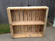 Pallet bookshelf. I'd like to do this for my garage. Idea from Craigslist listing.