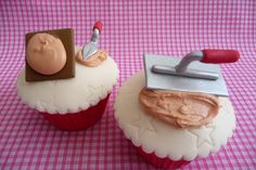 Plasterer tool's to be used as table names wedding - from our careers Amazing Cupcakes, Beautiful Cupcakes, Fun Cupcakes, Fathers Day Cupcakes, Fathers Day Cake, Cupcake Ideas, Cupcake Toppers, Cupcake Cakes, Dad Cake