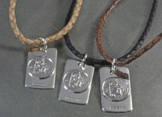 Handmade sterling silver table ware, bar ware, men and women's jewellery, children's jewellery and christening gifts, and silver gifts for every occasion. Leather Necklace, Men Necklace, Dog Tag Necklace, St Christopher Necklace, Saint Christopher, Piercings, Travel Gifts, Natural Leather, Leather Cord