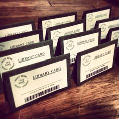 I love the idea of getting married in a Library. And these library cards are an adorable idea for the tables