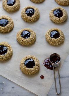 Indulge yourself in these Tahini Concord Grape Thumbprint Cookies this weekend. by thegourmetjar Concord Grape Recipes, Muffins, Galletas Cookies, Cookie Time, Thumbprint Cookies, Tahini, Cookie Bars, Sweet Recipes, Cookie Recipes