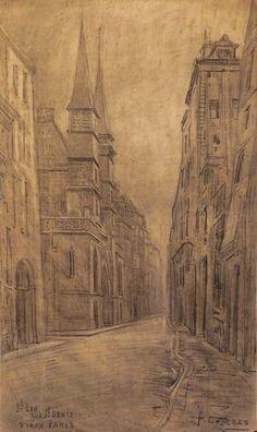 Combes Fernand - Charcoal - Vieux Paris, St Leu, rue St Denis - ~61.5x35.5cm; date probablement de 1910.