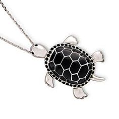Black Turtle Pendant Necklace