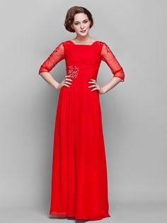 LAN TING BRIDE Pouzdrové Větší velikosti Malé Šaty pro matku nevěsty - Retro inspirované Na zem 3/4 délka rukávu Šifón Tyl - Křišťály - EUR €76.13 ! ŽHAVÝ výrobek! Žhavý výrobek za neuvěřitelně nízkou cenu je nyní ve výprodeji! Přijďte se podívat i na ostatní podobné výrobky. Získejte skvělé slevy, odměny a mnoho dalšího za každý nákup u nás!
