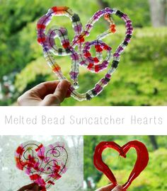 Melted Bead Suncatchers -- Beautiful free form hearts using plastic pony beads!