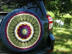Crocheted Spare Tire Cover Green Plum by tristinandcompany, $75.00