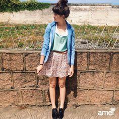 Um amor para dias ensolarados ✨ #lojaamei #saia #leve #Cropped #blazer #jeans #cute