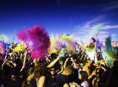 The origin of the Holi Festival Of Colours in Europe. Merida, Holi Festival Of Colours, Europe, Tours, Spaces, Festival Of Colours