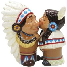 Westland Giftware Mwah Magnetic Native American Couple Salt and Pepper Shaker Set, 3-1/2-Inch