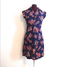 Vintage 70s Blue Midi Knee Length Dress S M