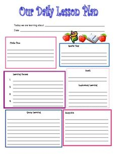 Financial Template For Business Plan Weekly Preschool Lesson Plan - Blank lesson plan template for preschool