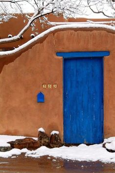 Intense colors typical of much Southwest Architecture, Santa Fe, New Mexico New Mexico Style, Adobe House, Santa Fe Style, Land Of Enchantment, Terracota, Unique Doors, Southwest Style, Painted Doors, Architecture Photo