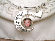 I Love You to the Moon & Back Photo Charm Bracelet, Valentine's Photo Gift, Bridal Gift, Mom Gift, Grandmom Gift, New Mom by ShoreCrafty on Etsy