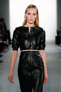 Belted black leather dress runway fashion