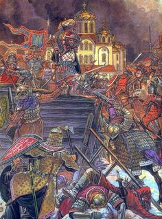 The Siege of Kiev by the Mongols took place between November 28 and December and resulted in a Mongol victory. It was a heavy moral and military blow to Halych-Volhynia and allowed Batu Khan to proceed westward into Europe. Historical Art, Historical Pictures, Eslava, Empire Romain, Landsknecht, Early Middle Ages, Knights Templar, Russian Art, Dark Ages
