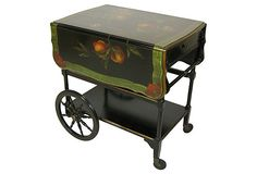 $1,175.00  $2,200.00 Estimated Market Value    Era: Vintage; 1910-1950  Condition: Very Good; some wear  Painted Tea Cart on OneKingsLane.com