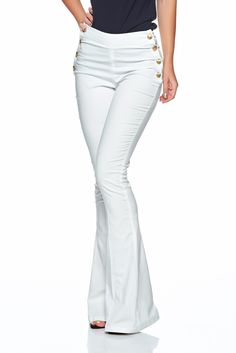 PrettyGirl Bottoms Up White Trousers, metal accessories, back zipper fastening… White Trousers, Summer Breeze, Flare Pants, Bell Bottoms, Pants For Women, Jumpsuit, Zipper, Metal, Casual