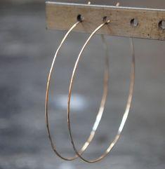 """Thin Gold Hoop Earrings, 2"""", 2.5"""", 3"""", 3.5"""""""