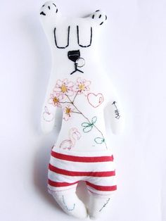 Sweet and ironic puppet friend, handmade and handembroidered in Italy