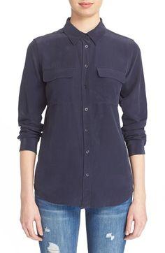 Free shipping and returns on Equipment 'Slim Signature' Silk Shirt at…