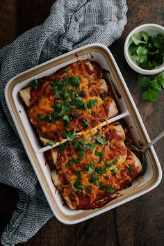 Vegetarian Pinto Bean Sweet Potato Enchiladas