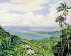 Marianne North (1830-1890) - Royal Botanic Gardens Kew - Point de vue sur Ochos Rios, Jamaica c.1872 (MN164)